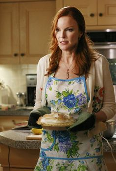 The ever-so-chic Bree Van de Kamp (played by Marcia Cross) from Desperate Housewives baking up a storm in her Jessie Steele Apron!