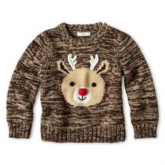 NWT - Joe Fresh™ Brown Rudolf Christmas Holiday LS Pullover Sweater Sz 12-18 mo #JoeFresh #Pullover #SweaterParty