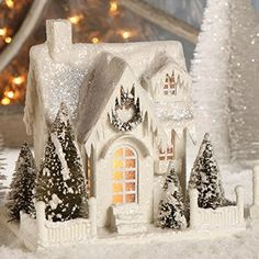 Bethany Lowe Christmas Village Large White Ivory House Cottage Single Roof for sale online Christmas Village Houses, Cottage Christmas, Putz Houses, Christmas Villages, Christmas Home, Christmas Holidays, Christmas Crafts, Christmas Decorations, Christmas Ornaments