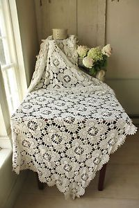 Vintage French crochet bed cover coverlet bedspread lace ~ handmade LOVELY ~