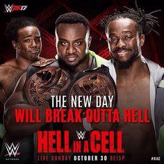 Tonight, #TheNewDay look to continue their historic title reign at #HIAC on @WWENetwork! @thetruekofi @xavierwoodsphd #BigE