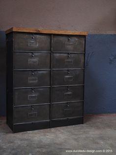 ancien meuble 10 casiers industriel a clapet roneo