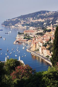 The seaside town of Villefranche sur Mer, next to Nice, on the Cote d'Azur, France. The most lovely bus ride ever took me through/past here. It is a stunning place!