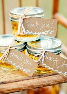 Handmade Honey Jars With Thank You Labels Van Gogh Inspired Wedding Ideas Photographed By Danielle Woodall