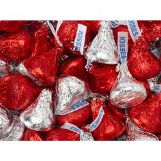 Wedding favor for inside bag: Red & Silver Hershey's Kisses Milk Chocolate Candy