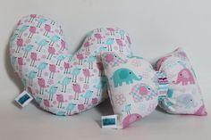 Bow & Heart decorative pillows, Set of 2, Plush, Softies, Nursery decor, Baby shower gift, Baby girl birthday, Elephant, Bird, Stripes Print by TheSofties on Etsy
