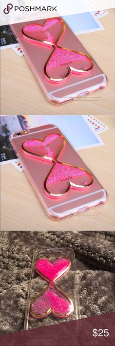 Iphone7 case with cute hearts‼️CCO got2go The hearts have sparkles in side of them that move around and like a flex plastic comment if I have any questions  Accessories Phone Cases
