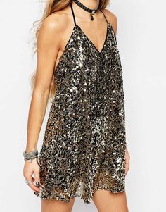 Shop Honey Punch Sequin Festival Swing Dress at ASOS. Beautiful Dresses, Nice Dresses, Casual Dresses, Short Dresses, Formal Dresses, Party Fashion, Fashion 2020, Fashion Outfits, Party Dress Outfits