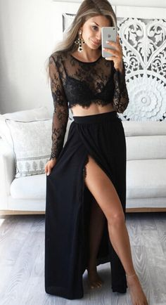 sexy two piece prom dresses, sexy black lace prom dresses, cheap black prom dresses for women, unique split side prom dresses, lace prom dresses 2 piece, cheap prom dresses for party
