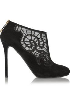 Nicholas Kirkwood Embroidered mesh and suede ankle boots | THE OUTNET