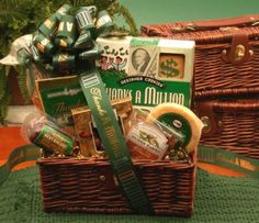 The   Thanks a Million gift basket is the perfect way to show your gratitude.  Make them feel like a million bucks when   you say thank you with the Thanks a Million gift basket!     Thanks   a Million Buttery Shortbread Cookies      Nunes Farm Sliced Ranch Almonds      Creamy vegetable dip      3 oz. Beef Salami      Chamberry Truffles      Thanks a Million Gourmet Coffee      Tomato Basil Pretzels 3 oz.      Dark Stain Gift Hamper w/Leather Handle & Clasp.