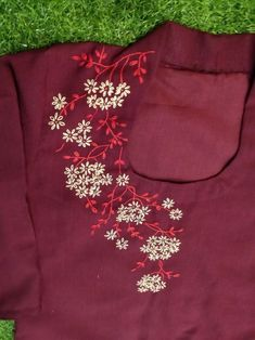 Embroidery On Kurtis, Kurti Embroidery Design, Embroidery Neck Designs, Basic Embroidery Stitches, Floral Embroidery Patterns, Hand Embroidery Videos, Hand Embroidery Flowers, Hand Work Embroidery, Embroidery On Clothes