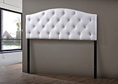 Wholesale Interiors Baxton Studio Myra Modern and Contemporary Faux Leather Upholstered Button-Tufted Scalloped Headboard, Queen, White