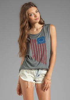 HAUTE HIPPIE Flag Muscle Tank in Charcoal Grey