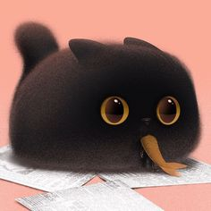 Funny Character Illustration Of The Day – Top Memes Funny Character, Character Art, Character Design, Cute Animal Drawings Kawaii, Kawaii Art, Illustration Inspiration, Black Cat Art, Photo Chat, Dibujos Cute