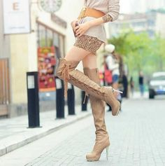Beautifying legs function high heel waterproof increased overknee boots | LUUUX