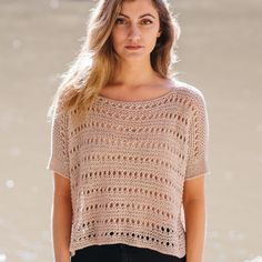 Elizabeth's open tee is a great layering piece for summer. The oversized shape and relaxed gauge aim for maximum drape, which is then compounded by eyelets and garter stitch. There's very little shaping in this piece, making for a relaxing knit. Crochet Summer Tops, Summer Knitting, Lace Knitting, Knitting Needles, Crochet T Shirts, Crochet Blouse, Crochet Clothes, Pull Crochet, Crochet Top