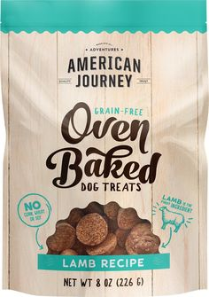 American Journey Lamb Recipe Grain-Free Oven Baked Dog Treats are grain-free, crunchy snacks sure to please your pup whether you're both on the go or right at home. Small, but full of flavor, these bite-size dog treats are packed with wholesome ingredients that will keep your pup energized for any daily adventure ahead. Real, high-quality lamb comes first, followed by tasty veggies and fruits, including sweet potatoes, carrots, pumpkins, blueberries and apples. And these naturally preserved…