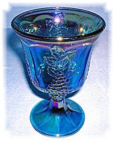 Blue Carnival Glass Grape Pattern  Wine Glass