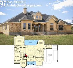 Architectural Designs Hill Country House Plan 28302HJ gives you 3 beds 4 beds with a private master with rear porch access and over 2,000 square feet of living space. Ready when you are. Where do YOU want to build?