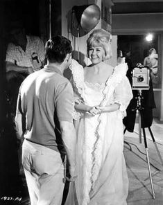 Backstage on the set of 'The Thrill of It All', 1963. Costume by JEAN LOUIS