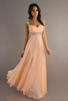 Long Peach Sweetheart Beaded Prom Dress With Straps