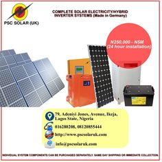 Are you tired of spending much money on unnecessary electricity bills? Now is the time to ENJOY UNINTERRUPTED ELECTRICITY harnessing the Solar power from the sun leveraging on our New Advanced German XANTRA INVERTER TECHNOLOGY.  At PSC Solar UK, We can install a Complete Solar Power Electricity systems and Hybrid Inverter System, Our EXPERT Qualified Engineers are readily available 24/7 at anywhere in Nigeria to get your solar system installed.  Our Products are made in UK, and German to…