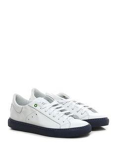 WOMSH - Sneakers - Uomo - Sneaker in pelle con suola in gomma, tacco 25. - BIANCO\BLU - € 155.00