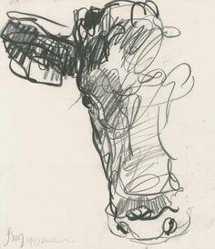 Jason Gathorne-Hardy Sketch of a Cow's Head, Blackheath, Suffolk 2009 I like the scribble effect