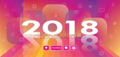 Download - 2018 logo design on Abstract multicolored background, color rainbow stripes, followers icons, sunset, dynamic perspective Vector wallpaper. social media icons, speech bubbles, headline, web banner, flyer, print, Web sport — Stock Illustration #164111148