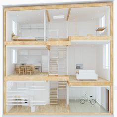 The compact but elegant MUJI Vertical House is only 3.64m wide by 8.19m long (11.9 feet by 26.8 feet). Fit the modules together to design your ideal home!