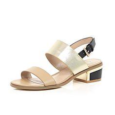 Beige leather block heel sandals £35 #riverisland