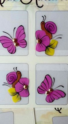Butterfly Nail Art, Cute Butterfly, Natural Nail Designs, Cute Nail Designs, Nails & Co, Toe Nails, One Stroke Painting, Tole Painting, One Stroke Nails