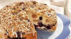 Tart rhubarb and sweet blueberries partner in a sweet coffee cake. Serve it morning, noon or night. #Rhubarb #Blueberries
