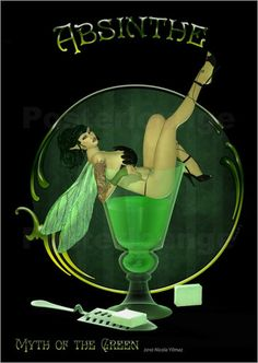 Nicola Yilmaz - Absinthe – Myth of the Green Art Nouveau Design, Art Deco, Speakeasy Decor, Green Fairy Absinthe, Advertising Poster, Magical Creatures, Dark Art, Vintage Posters, Fantasy Art