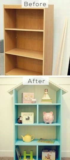 Kids shelving makeover | kids room design | kids furniture | Ikea Billy Hack | Billy Shelf Hack