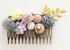 Wedding Hair Comb Pink Soft Purple Gray Floral Hair by Jewelsalem