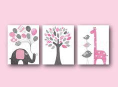Baby Girl Nursery Decor Pink Gray Nursery Art Elephant Nursery wall art Giraffe Nursery Bird Tree Kids wall art - Set of three prints    IMPORTANT: