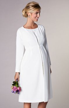 Christie Maternity Wedding Dress Coat Ivory - Maternity Wedding Dresses, Evening Wear and Party Clothes by Tiffany Rose Christie Maternity Wedding Dress Coat Ivory by Tiffany Rose Maternity Wear, Maternity Fashion, Maternity Dresses, Maternity Wedding, Maternity Photos, Coat Dress, The Dress, Tiffany Rose, Party Kleidung