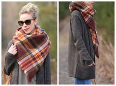 how to style plaid blanket scarf