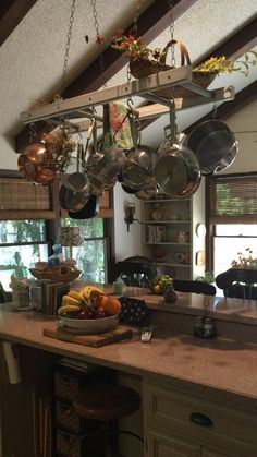 Farmhouse Ladder Pot Rack, Gray Wash Distressed Kitchen Island Pot Holder, Wood stained Pot and Pan storage, Ceiling Pot and Pan holder - Kitchen - Best Kitchen Decor! Distressed Kitchen, Rustic Kitchen, New Kitchen, Kitchen Ideas, Kitchen Inspiration, Kitchen Designs, Tuscan Kitchen Decor, Country Kitchen Lighting, Rustic Country Kitchens