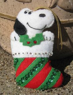 Snoopy Felt Ornament Christmas Stocking by RSWVintage on Etsy, $11.00