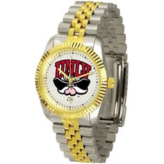"Nevada Las Vegas Runnin Rebels NCAA ""Executive"" Mens Watch by SunTime. $151.20. Safety Clasp. Calendar Date Function. Stainless Steel Case. 23kt Gold Plate Bezel. Two-Tone Solid Stainless Steel Band. Elegant design for the modern man or woman who wants to show their team spirit! The dial is presented in a sleek, stainless steel case and bracelet that rests fashionably yet comfortably across the wrist. Features a convenient date display, quartz accurate movement ..."