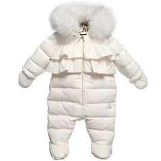 Baby girls gorgeous down padded snowsuit with feet byRoberto Cavalli, made from silky polyamide and a silky viscose lining.The hood has a leopard print lining and a detachable real fur trim. It has two matching fabric frills on the front and a gold metallic zip fastener with a logo charm. The cute mittens are attached to prevent loss