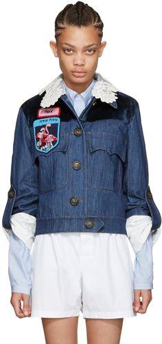 Miu Miu - Indigo Denim Patches Jacket