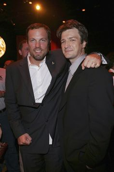 Nathan Fillion and Adam Baldwin at the Serenity Premiere After Party on September 22, 2005.