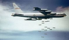 A with the Bomb Wing drops bombs over Vietnam. The aircraft played a major role throughout the conflict, particularly during Operation Linebacker I and II.