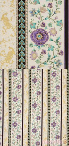 "cream cotton fabric with stripes, purple poppies etc., with metallic gold embellishment, Material: 100% cotton, Fabric Type: smooth cotton fabric, Fabric Width: 112cm (44"") #Cotton #Flower #Leaf #Plants #Metallic #USAFabrics"