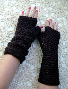 Long Black Fingerless Gloves Crocheted Arm Warmers by LazyTcrochet