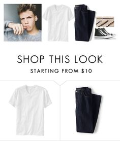 """""""-wandering around the school, bored-"""" by m-ystic ❤ liked on Polyvore featuring Old Navy, Lands' End, Converse, men's fashion and menswear"""